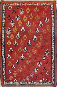 One-of-a-Kind Antique Geometric Kilim Persian Hand-Woven 6x9 Wool Area Rug