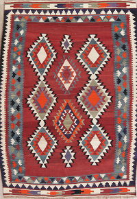 Vegetable Dye Red Geometric Kilim Persian Hand-Woven 5x7 Wool Area Rug