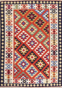 Orange Geometric Kilim Shiraz Persian Area Rug 5x7