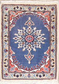 Blue Geometric Nain Persian Wool Rug 1x2