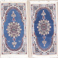 Pair of Two Blue Floral Nain Persian Area Rug 1x3