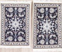 Pair of Two Navy Blue Floral Nain Persian Wool Rug 2x3