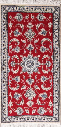 Red Floral Nain Persian Runner Rug 2x5