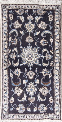 Navy Blue Floral Nain Persian Area Rug 2X4
