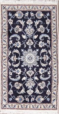 Navy Blue Floral Nain Persian Wool Rug 2x4