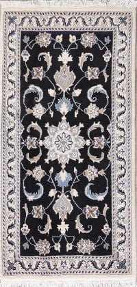 Black Floral Nain Persian Runner Rug 2x5