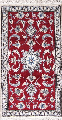 Red Floral Nain Persian Wool Rug 2x4