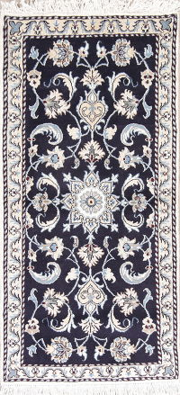 Navy Blue Floral Nain Persian Runner Rug 2x5