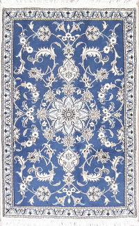 Blue Floral Nain Persian Wool Rug 3x5