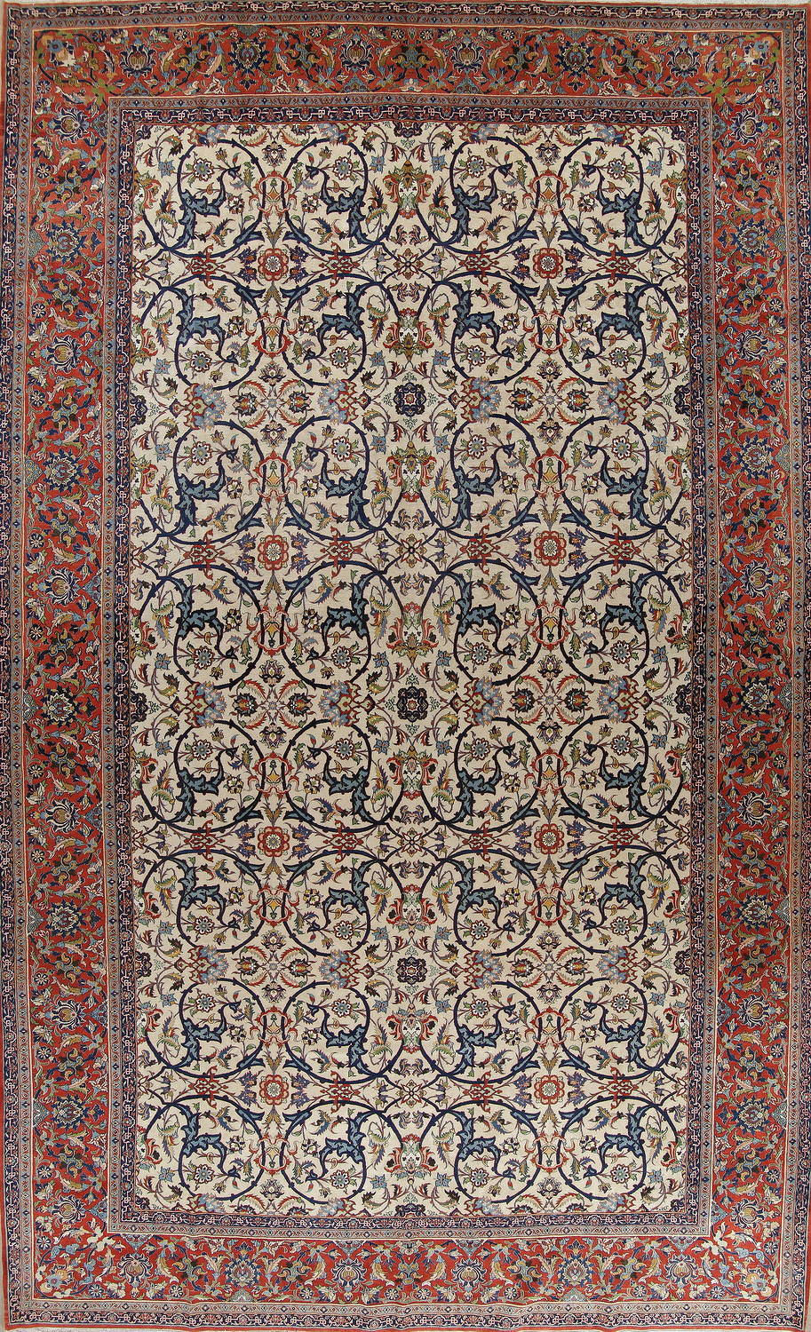 Pre 1900 Antique Ivory Floral Isfahan Persian Area Rug 12x19