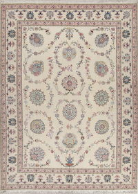 Masterpiece Silk Ivory Tabriz Persian Area Rug 10x13