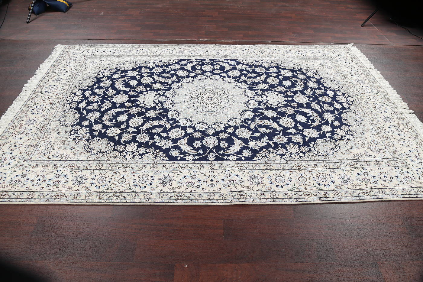 Navy Blue Floral Nain Persian Hand-Knotted Area Rug 7x10