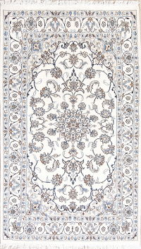 Ivory Floral Nain Persian Hand-Knotted Area Rug 4x6