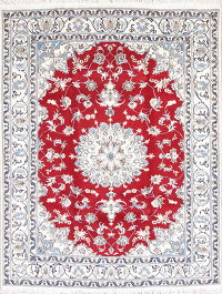 Red Floral Nain Persian Area Rug 6x7