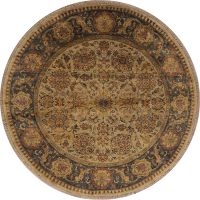 Floral Traditional Style Oushak Oriental 8' Round Hand-Knotted Wool Rug
