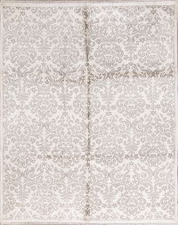100% Silk Transitional Floral Ivory/Silver Grey Oriental Area Rug 8x10