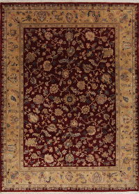 Red Floral Oushak Oriental Hand-Knotted 8x11 Wool Area Rug