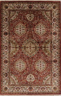 Floral Agra Indian Oriental Hand-Knotted 5x8 Area Rug