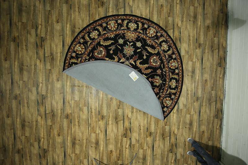 Traditional Floral Black Oushak Oriental Round Rug 10x10