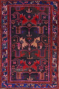 Black Geometric Bakhtiari Persian Area Rug 4x7