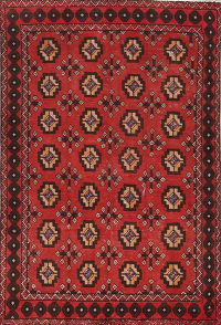 Red Geometric Bakhtiari Persian Area Rug 4x6