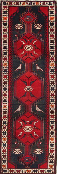 Red Geometric Animal Pictorial Bakhtiari Persian Runner Rug 3x10