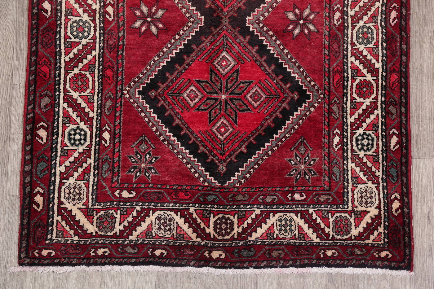 Red Geometric Hamedan Persian Runner Rug 4x10