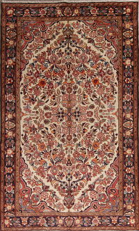 Ivory Floral Borchelu Persian Runner Rug 5x10