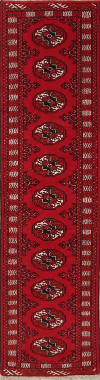 Red Geometric Balouch Oriental Runner Rug 2x9