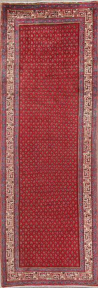 Red Geometric Botemir Persian Runner Rug 3x10