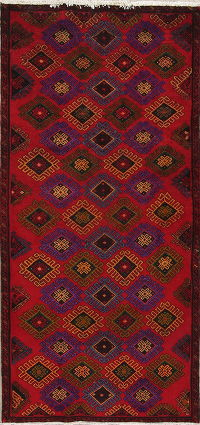 Red Geometric Mahal Persian Runner Rug 4x8
