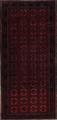 Red Geometric Balouch Bokhara Persian Runner Rug 4x8