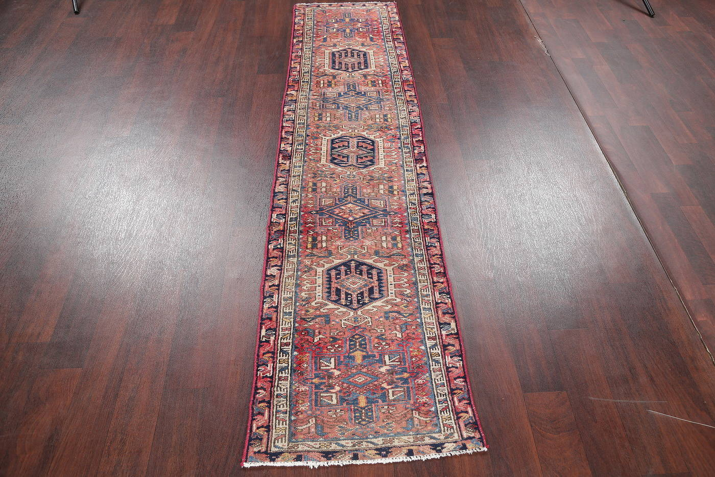Antique Red Geometric Gharajeh Persian Hand-Knotted Runner Rug Wool 2x10