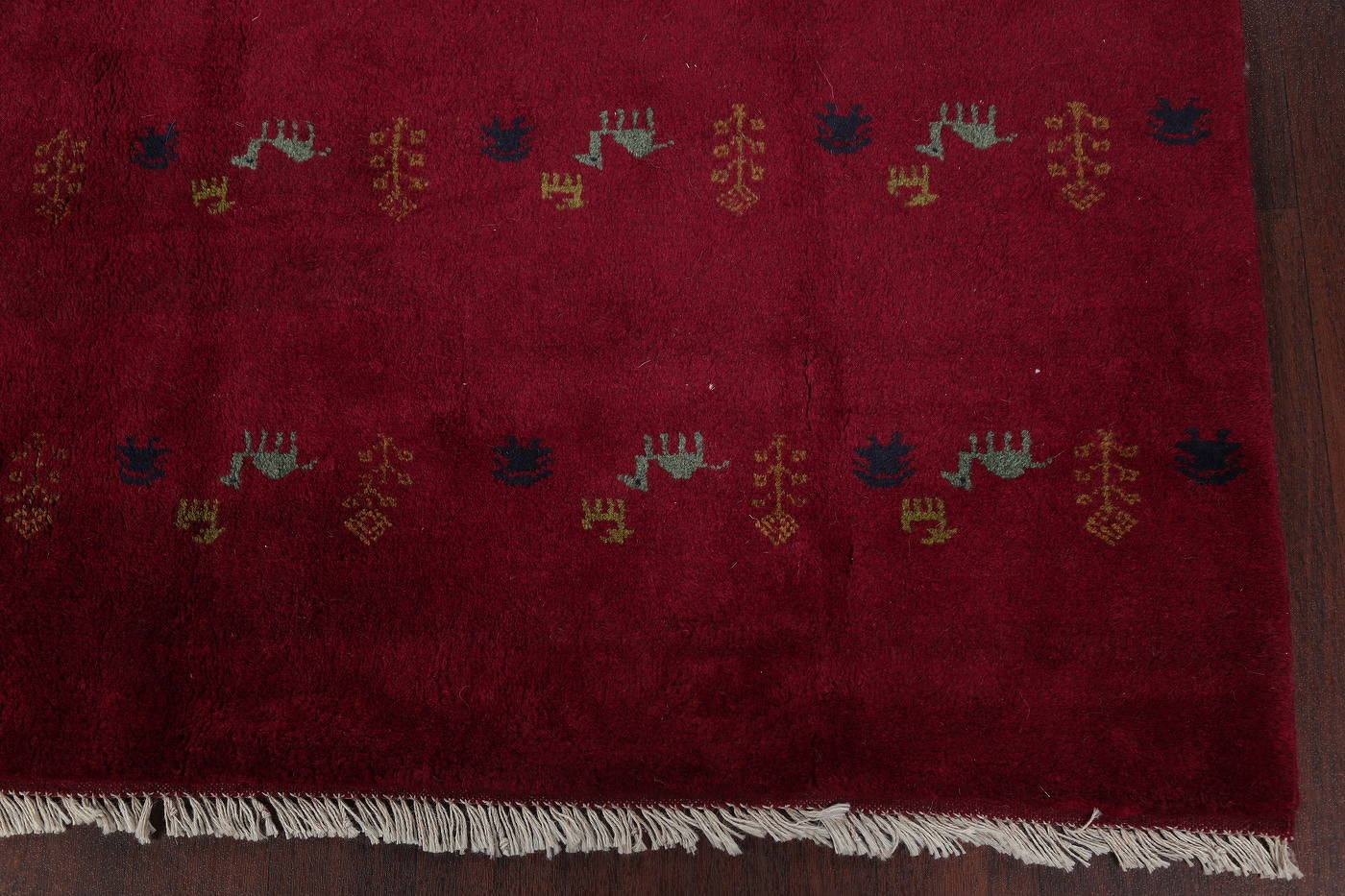 Burgundy Red Tribal Gabbeh Shiraz Persian Square Area Rug 7x7