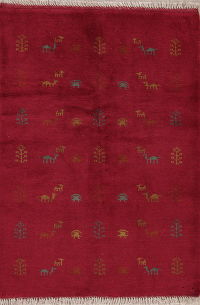 Red Tribal Gabbeh Persian Wool Rug 3x5