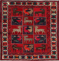 Red Animal Pictorial Geometric Kashkoli Persian Area Rug 7x9