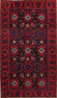 Black Floral Malayer Hamedan Persian Hand-Knotted 4x7 Wool Area Rug