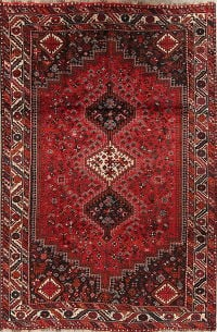 Red Geometric Qashqai Persian Area Rug 7x10