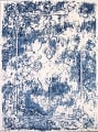 Reproduction Abstract Turkish Distressed Blue/Ivory Oriental Area Rug image 16