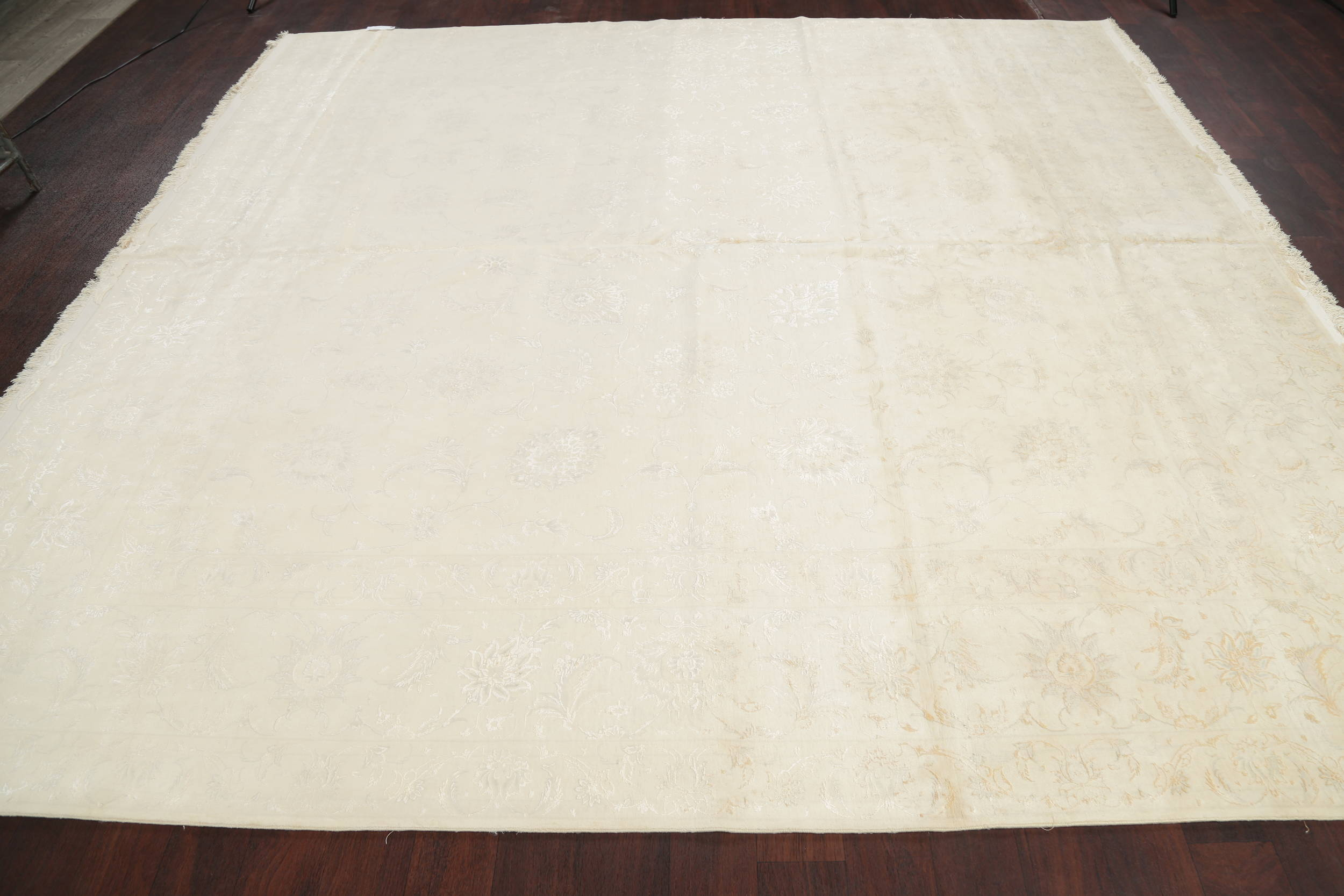 Wool & Silk Ivory/Silver Tabriz Persian Hand-Knotted Square Rug 10'x10'