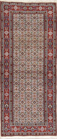 Ivory Geometric Mood Persian Runner Rug 3x6