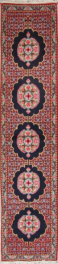 Red Floral Sanandaj Persian Runner Rug 2x8