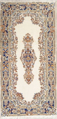 Ivory Floral Kerman Persian Area Rug 2x5