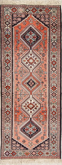 Red Geometric Yalameh Persian Runner Rug 3x7