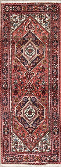 Red Geometric Bidjar Persian Runner Rug 2x6