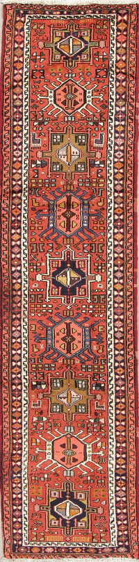 Red Geometric Gharajeh Persian Hand-Knotted Runner Rug 2x10