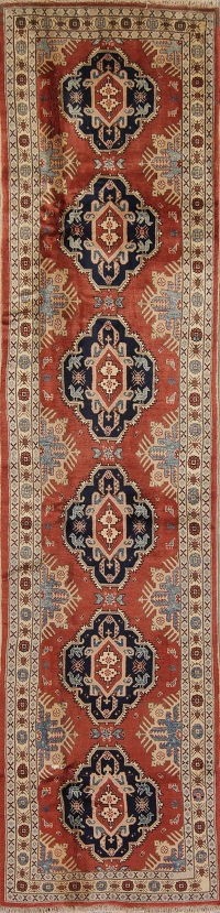 Red Geometric Kazak Oriental Hand-Knotted 3x10 Wool Runner Rug