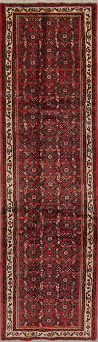 Hand-Knotted All-Over Hamedan Persian Runner Rug 3x9