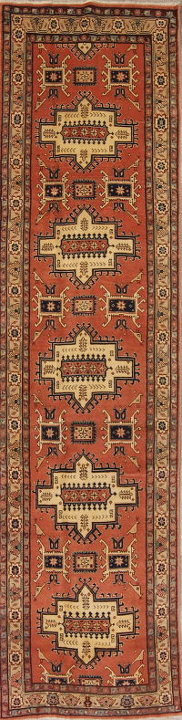 Tribal Geometric Kazak Persian Runner Rug 3x10
