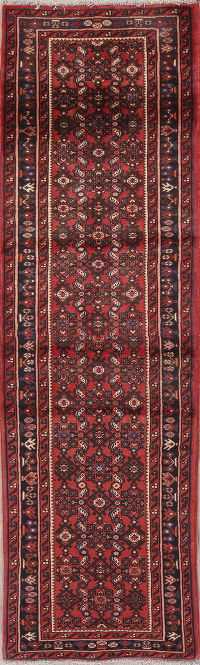 Red Geometric Hossainabad Persian Runner Rug 2x8